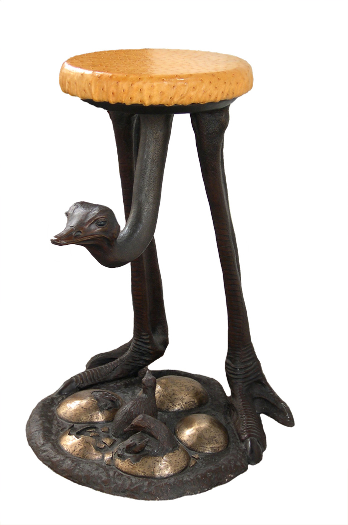 Ostrich Stool with Skin